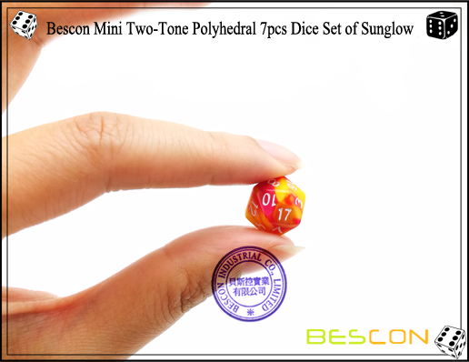 Bescon Mini Two-Tone Polyhedral 7pcs Dice Set of Sunglow-7