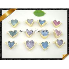 Color ágata Druzy perlas forma del corazón Geode Drusy colgante de cuarzo colgante para la fabricación de la pulsera (EF0121)