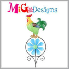Venta al por mayor Animal Pattern Metal and Glass Garden Metal Stake