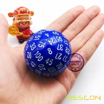 Bescon Polyhedral Dice 100 Sides Dice, D100 die, 100 Sided Cube, D100 Game Dice, 100-Sided Cube of Blue Color
