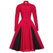 Belle Poque estilo victoriano de manga larga de cuello de contraste de color rojo retro vestido de swing vintage BP000366-2