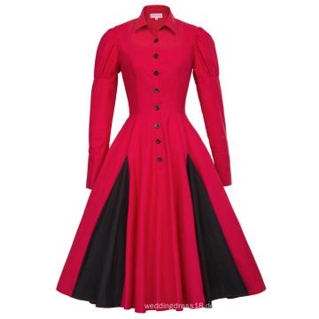 Belle Poque Viktorianischen Stil Langarm Shirt Kragen Kontrast Farbe Rot Retro Vintage Swing Kleid BP000366-2