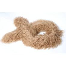 Écharpe en fourrure d'agneau mongol marron