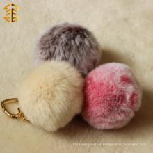 Saco de pele de alta qualidade Genuine Rex Rabbit Fur Ball Key chain