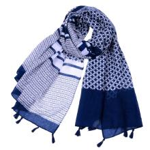 Bufanda de señora viscose impresión geométrica decorativa popular superior con borlas