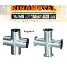 """ANSI316 1.5 """"conector da tubulação do produto comestível cruz de aço inoxidável da braçadeira"""