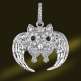 Owl 925 Sterling Silver Pendant Necklace Psa3354
