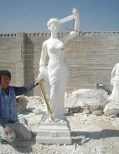 Besar saiz putih Dewi agama marmar patung keadilan