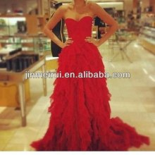 2014 New Design Elegant Organza Ruffle A-Line Lace Up Back Sweetheart Neckline Red Prom Dress