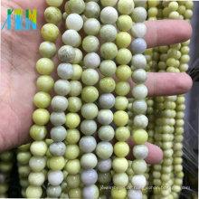 Großhandel Halbedelsteine Edelstein Schmuck Stein Perlen Senf Stein AAA Qualität 10mm Runde glatte Olive Jade