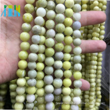 Wholesale Semi Precious Stones Gemstone Jewelry Stone Beads Mustard Stone AAA Quality 10mm Round Smooth Olive Jade