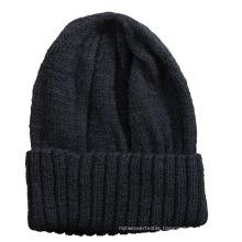 Wholesale Custom Black Plain Knitted Beanie