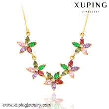 43017 Fashion Elegant 24k Gold-Plated Women CZ Leaf-Shaped Imitation Jewelry Chain Necklace