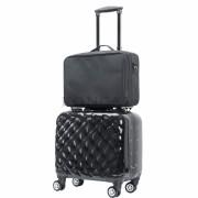 Hot Sale PVC Black Trolley Beauty Box Makeup Vanity Case