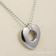 Collier pendentif en argent en argent et argenté en acier inoxydable avec trou