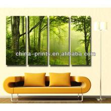 Impresiones al por mayor de la foto del bosque del verde de la lona para la mejora casera