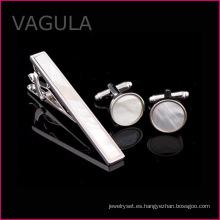 Madre de VAGULA nueva Shell Tie Pin de barra de lazo Perla plata corbata conjunto (T62282)