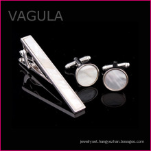 VAGULA New Shell Tie Pin Mother of Pearl Tie Bar Silver Tie Clip Set (T62282)