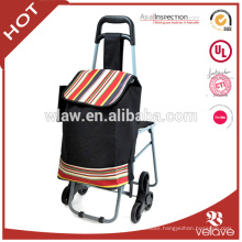 100kg load-bearing polyester shopping trolley with seat