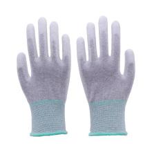 Paume de fibre de carbone sans couture de calibre 13 et gants de travail antistatiques enduits d'unité centrale de PU d'ajustement supérieur