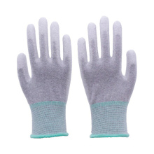 13 Gauge Seamless Carbon Fiber palm and Top Fit PU Coated Antistatic ESD working Gloves