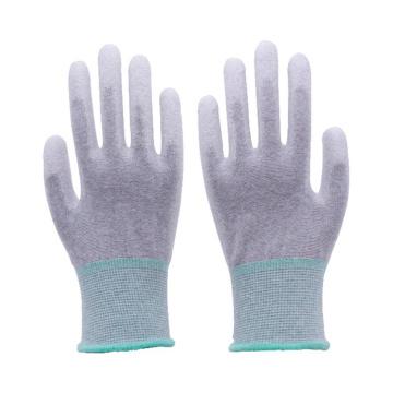 Palma de fibra de carbono sin costuras calibre 13 y guantes de trabajo ESD con protección antiestática recubiertos de PU en la parte superior