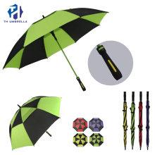 Auto Open Golf Umbrella with Double Layer/Fashion Straight Rain Umbrella/Compact & Reinforced Outdoor Umbrella