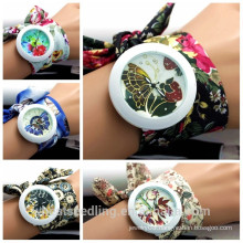 Wholesale Fashion Fabric Band DIY Flower Print Big Dial lady watch, vogue watch
