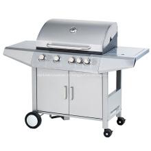 Barbecue à gaz en acier inoxydable à 4 brûleurs