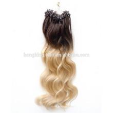 remy cheveux humains doux et durent longtemps micro perles ombre cheveux extensions