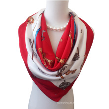 En gros de haute qualité femmes 90 * 90cm Grande taille de foulard en soie chinoise