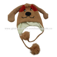 Animal hats with micro-soft fleece lining for winter, long ear dog design