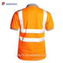 Manga curta de alta Visibilidade Visibilidade Segurança Trabalho Polo T camisa En471 Cinza Collar Hi Vis T-shirt Refletivo Segurança Trabalhar Desgaste