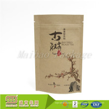 High Quality Oem Aluminium Foil Lined Packing Resealable Ziplock Non-Toxic Kraft Paper Bag For Loose Tea Leaf Packaging