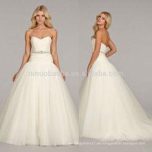 Einfache 2014 Sweetheart Low Back Tulle Made Long Tail Ballkleid Brautkleid Brautkleid Mit Falten Kristall Schärpe Accent NB0673