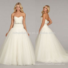 Simple 2014 Sweetheart Low Back Tulle Made Long Tail Ball Gown Wedding Dress Bridal Gown With Pleats Crystal Sash Accent NB0673
