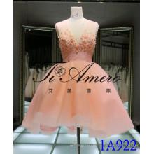 Розовый прекрасный короткое платье 2016 с цветами и жемчугом бисером тюль вечернее платье V шеи кружева мини-платье 1A922