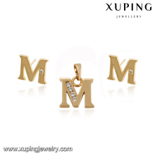 64061- Xuping Imitation alphabet M shape gold jewelry set