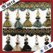Elegant Fashion Tassel Curtain Decoration Trim Fringe With Glass Beads