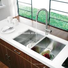 Évier de cuisine à double bol en acier inoxydable SUS 304 16G / 18G zéro à la main