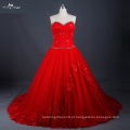 LZ171 Vestido De Casamento Vermelho Lace Up Back With Graceful Beads Ball Gown