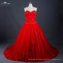 LZ171 vestido de boda rojo ata para arriba detrás con el vestido de bola agraciado de los granos