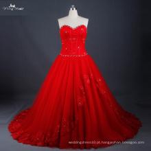 LZ171 Vestido De Casamento Vermelho Lace Up Back With Graceful Beads Ball Gown