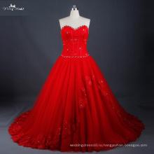 LZ171 Красный свадебное платье зашнуровать назад с изящной бусины бальное платье