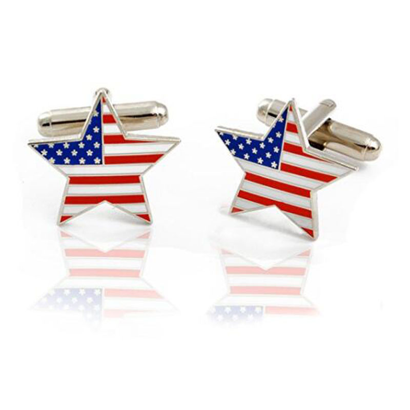 USA Flag Silver Cuff Links