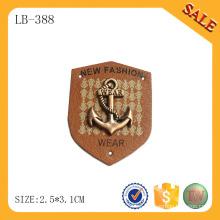 LB388 Pantalones vaqueros de los niños etiqueta de la insignia de la PU etiqueta de cuero de encargo