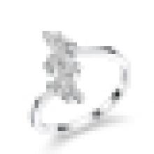 Anillo de apertura de la boda de diamante de plata esterlina 925 dulce de la mujer