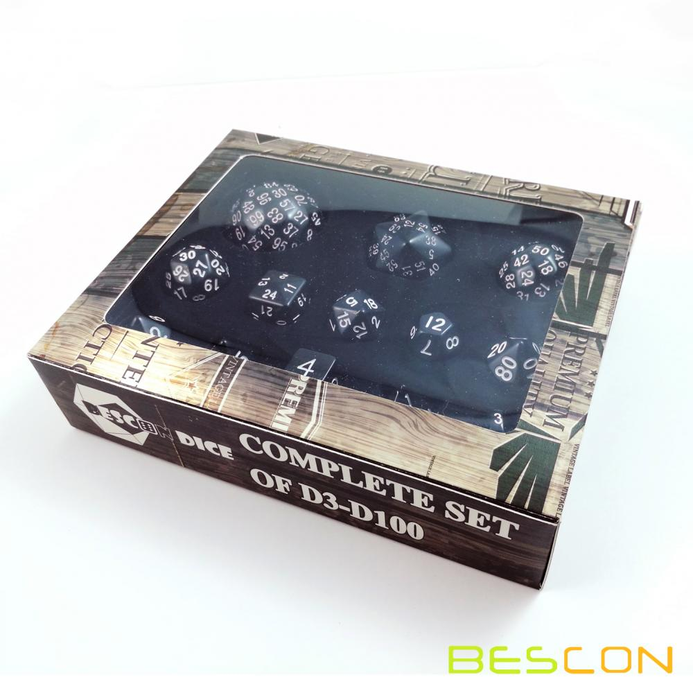 Bescon Complete Polyhedral Dice Set 13pcs D3-D100, 100 Sides Dice Set Opaque Black