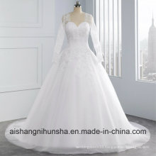 Detachable Long Sleeve Lace Wedding Dress Appliques Wedding Gown
