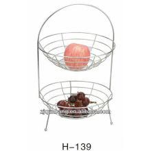 2-Layer handle metal fruit basket